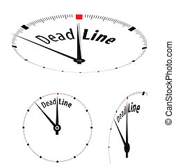 White clock with word Deadline on its face. Vector...
