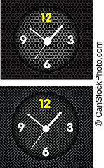 Abstract metal background with modern clock