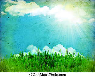 Vintage nature background with green grass and sun on old...