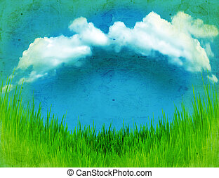Vintage landscape with green grass and blue sky
