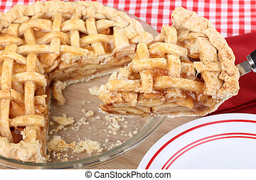 Apple Pie Serving - Serving a slice of apple fruit pie