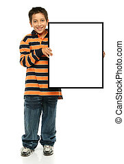 Boy holding a blank sign - Child holding an empty sign over...