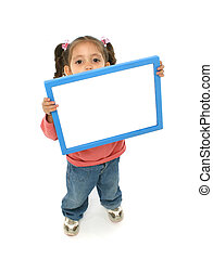 Girl holding a blank sign - Toddler holding an empty sign...
