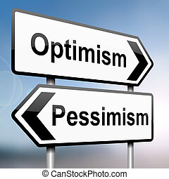 Pessimism or optimism - illustration depicting a sign post...