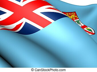 Flag of Fiji. Close Up.