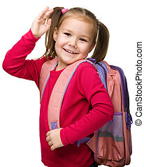 Portrait of a cute schoolgirl with backpack - Portrait of a...