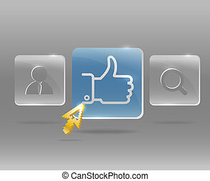 Modern social media menu with glass buttons and golden arrow