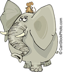 elephant with mouse - cartoon illustration of funny elephant...