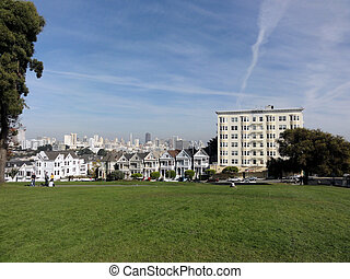 Painted Laides Victorian houses in San Francisco with...