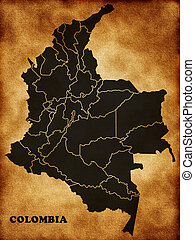 Map of the Republic of Colombia in the old style