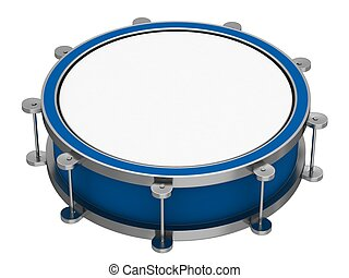 A drum with drumsticks on a white background