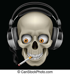 Skull with headphones with a cigarette Illustration on black...