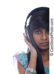Girl Holding Headphones