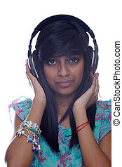 Teen Girl Holding Headphones