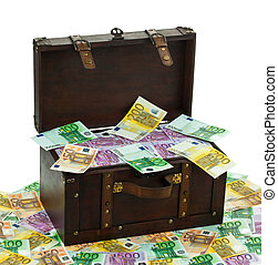chest with euro banknotes. financial crisis, crisis training...
