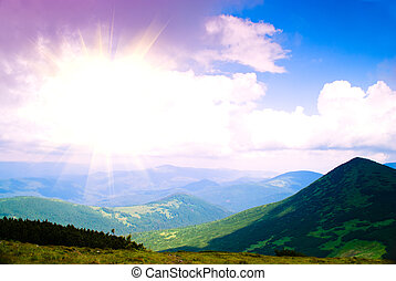 Sunrise in Carpathian mountains