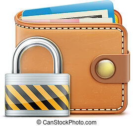 realistic closed wallet - Vector illustration of security...