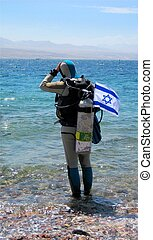 diver with the Israeli flag