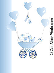 Baby stroller in blue with ballons
