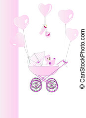Baby stroller in pink with balloons