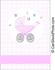 Babycard in pink with a stroller