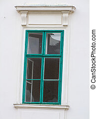 window in an old town house - several windows in an old town...