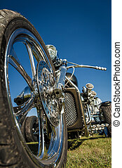 motorcycle trike - chromed motorcycle trike abstract against...