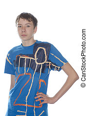 teenager in fashionable t-shirt  on white background