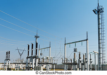 general view to high-voltage substation