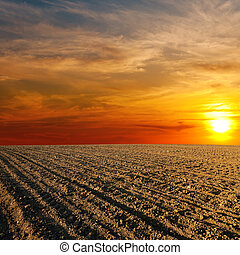 red sunset over ploughed farm field