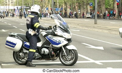 Policeman on a motorcycle, patrol, unrecognizable