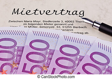 euro notes and lease - many euro bank notes and lease in...