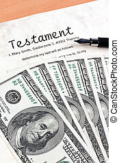 dollar currency notes and english testament