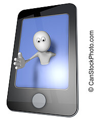 smartphone - white guy and smartphone - 3d illustration