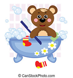 Teddy bear showering in bath