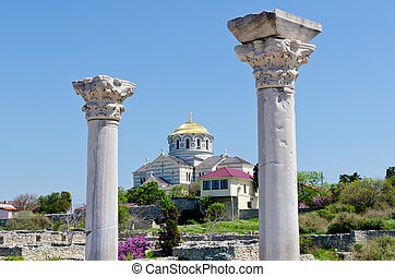 Marble columns of Ancient Greek basilica in Chersonesus...