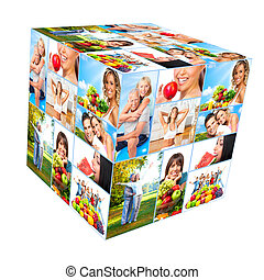 Happy healthy people collage. - Happy people cube collage....