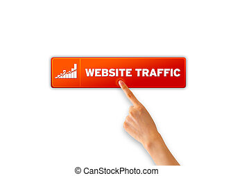 Website Traffic - Finger pointing a an orange Website...