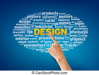 Design - Hand pointing at a Design Word Cloud on blue...
