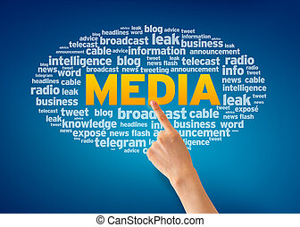 Media - Hand pointing at a Media Word Cloud on blue...