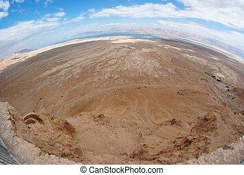 Fisheye view of desert landscape near the Dead Sea seen from Masada fortress