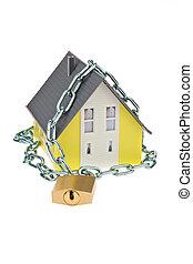 alarma, seguro, casa, cadena