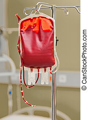 stored blood in a hospital - a blood bag for infusion into a...