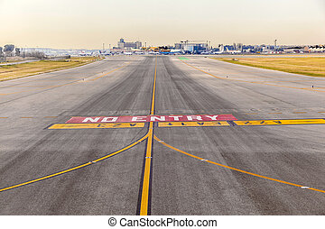 runway at  Barajay Airport  in Madrid, Spain.