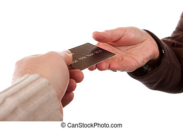 Paying By Credit Card - Two hands exchanging a credit debit...
