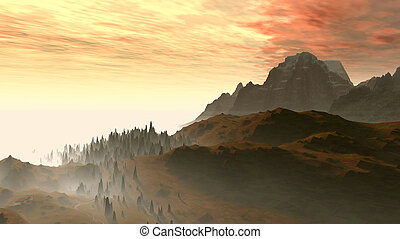 silhouette of mountains on a background a bright sunset and...