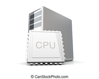 Desktop CPU	 - 3D rendered Illustration. Isolated on white.