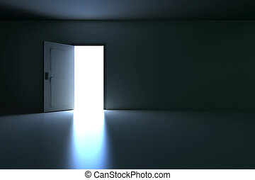 Open Door - A open door in a empty room. 3D rendered...