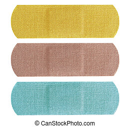 Bandaid set - Set of three colored bandaids or bandages in...