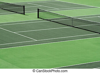 Tennis court - Aerial image of empty outdoor green hard...